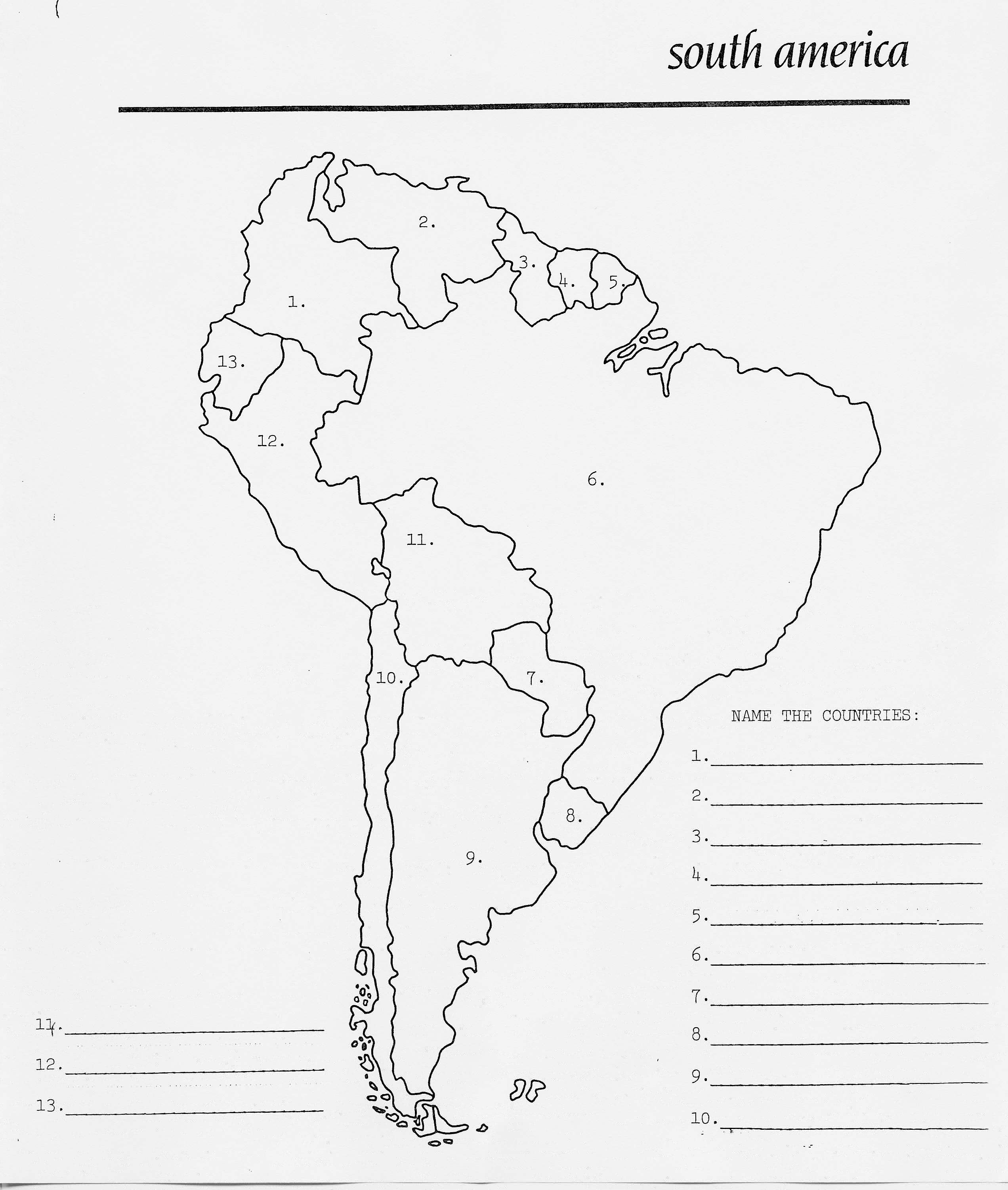 Blank Outline Map South America
